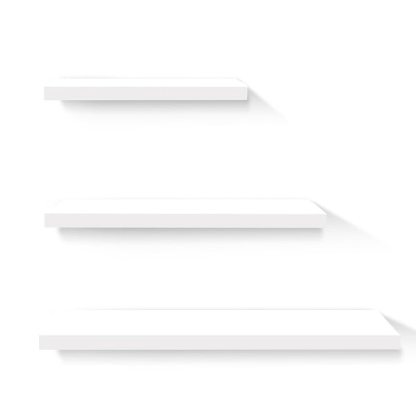 3 Piece Floating Wall Shelves - White - The Home Accessories Company