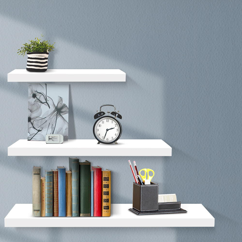 3 Piece Floating Wall Shelves - White - The Home Accessories Company 2