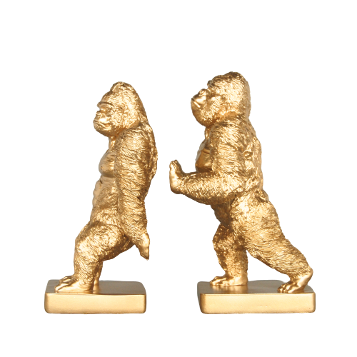 Gorilla Bookends -  Gold - The Home Accessories Company