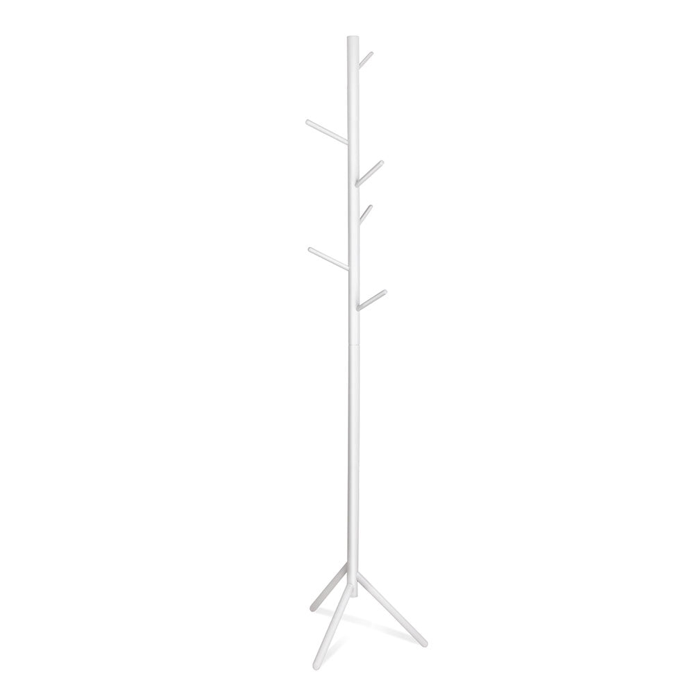 Wooden Coat Stand with 6 Hooks - White - The Home Accessories Company
