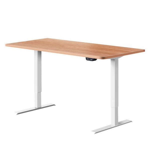 Electric Motorised Height Adjustable Standing Desk - White & Oak - The Home Accessories Company
