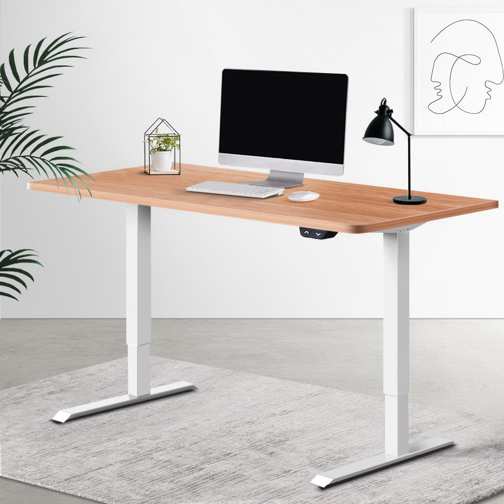 Electric Motorised Height Adjustable Standing Desk - White & Oak - The Home Accessories Company 2