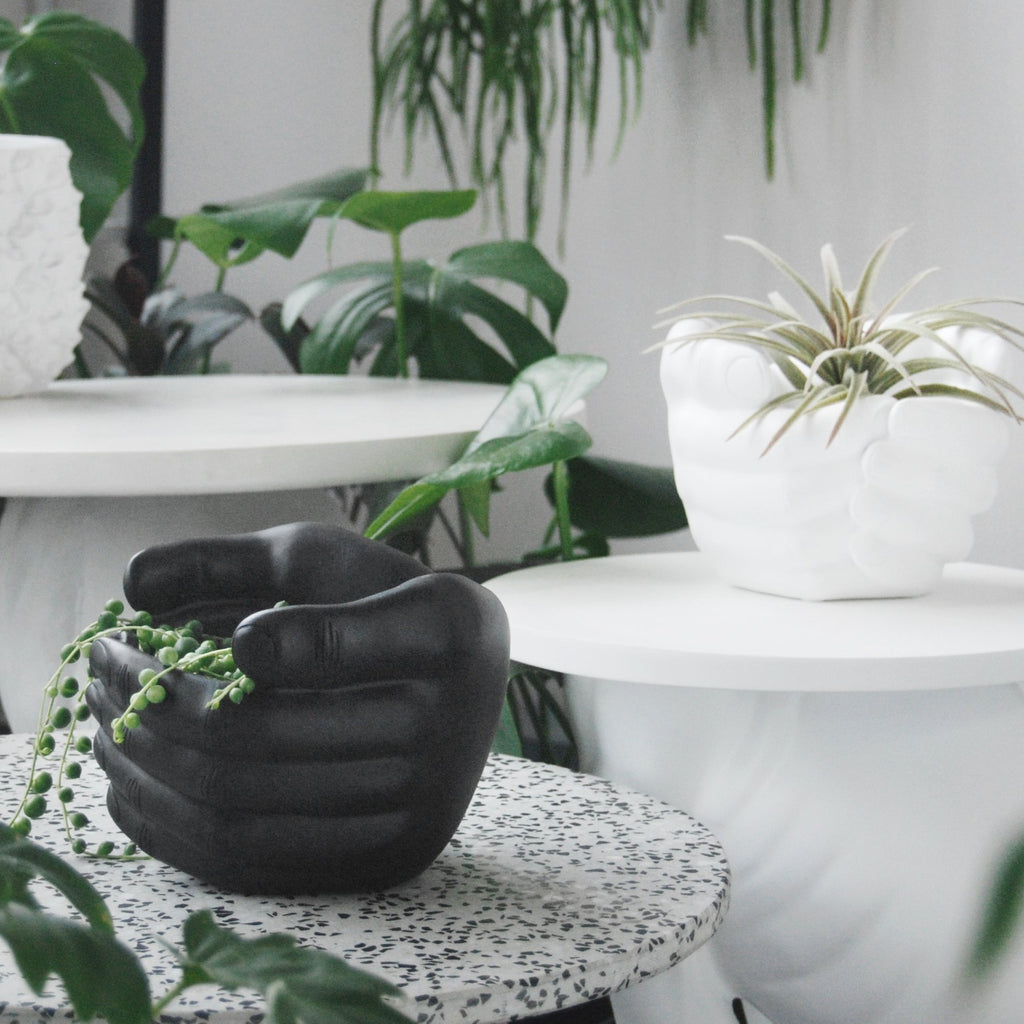 Enclosed Hands Planter - Black - The Home Accessories Company