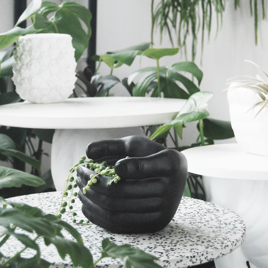 Enclosed Hands Planter - Black - The Home Accessories Company 1