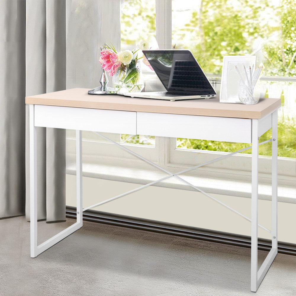 Wooden Top Metal Desk with Drawer - The Home Accessories Company 3