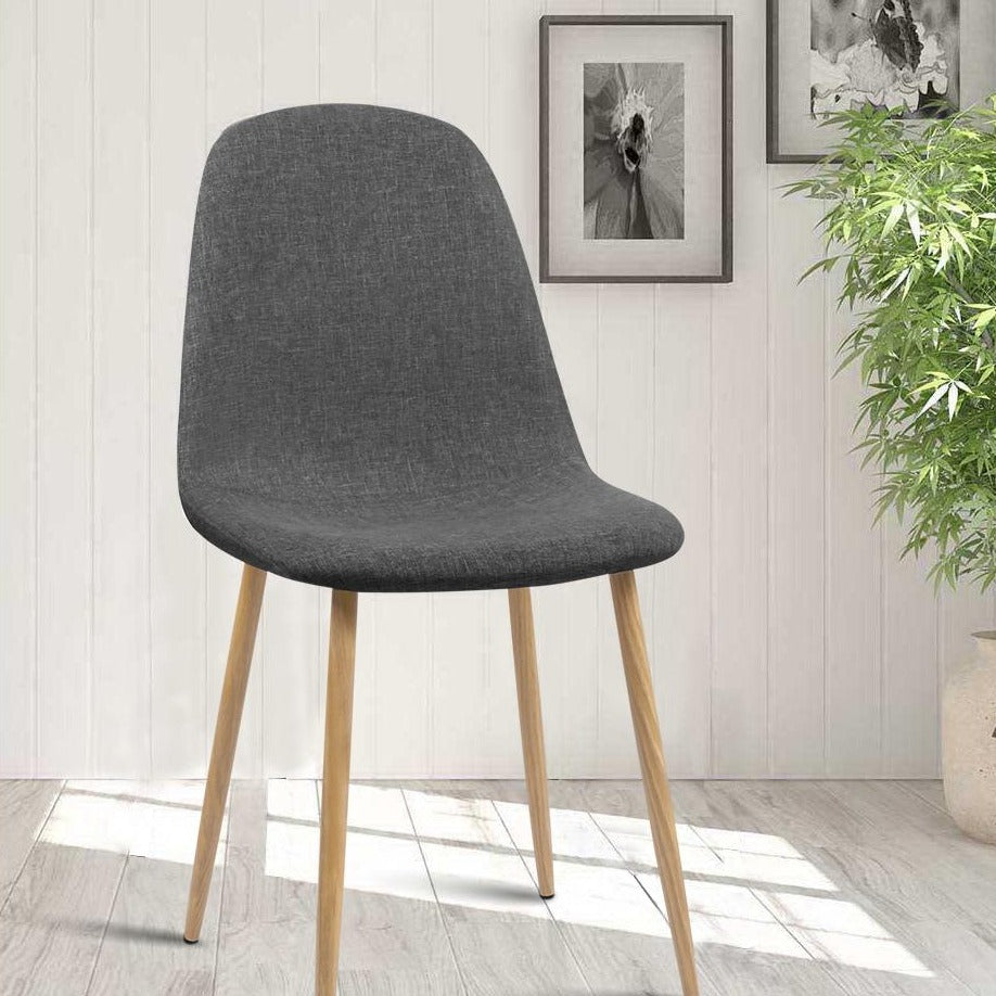 4 x Amy Fabric Dining Chairs - Dark Grey - The Home Accessories Company 4