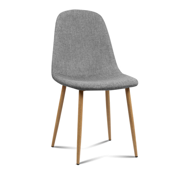 4 x Molly Fabric Dining Chairs - Light Grey - The Home Accessories Company