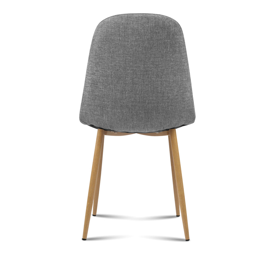 4 x Molly Fabric Dining Chairs - Light Grey - The Home Accessories Company 3