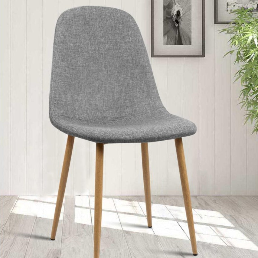 4 x Molly Fabric Dining Chairs - Light Grey - The Home Accessories Company 4