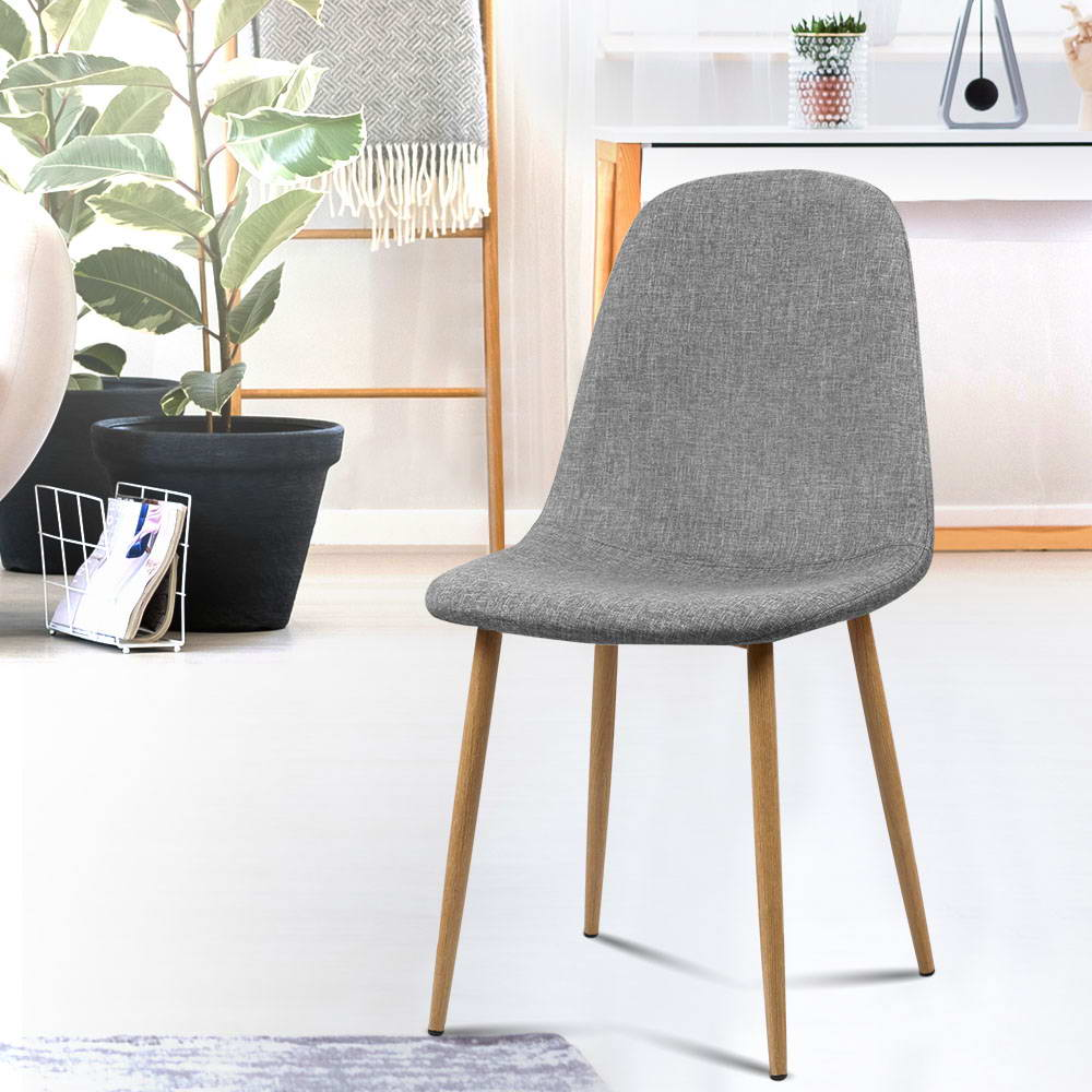 4 x Molly Fabric Dining Chairs - Light Grey - The Home Accessories Company 5