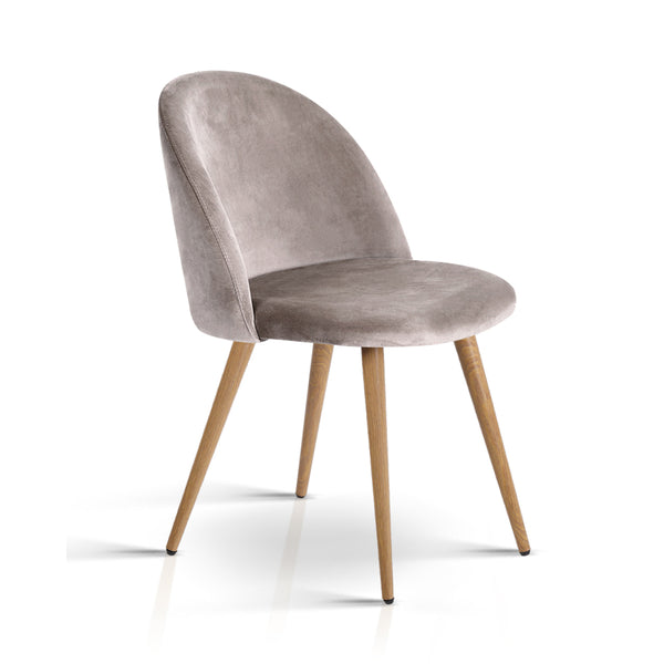 2 x Velvet Modern Dining Chair - Light Grey - The Home Accessories Company