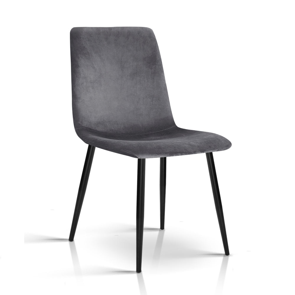 4 x Velvet Dining Chairs - Charcoal - The Home Accessories Company