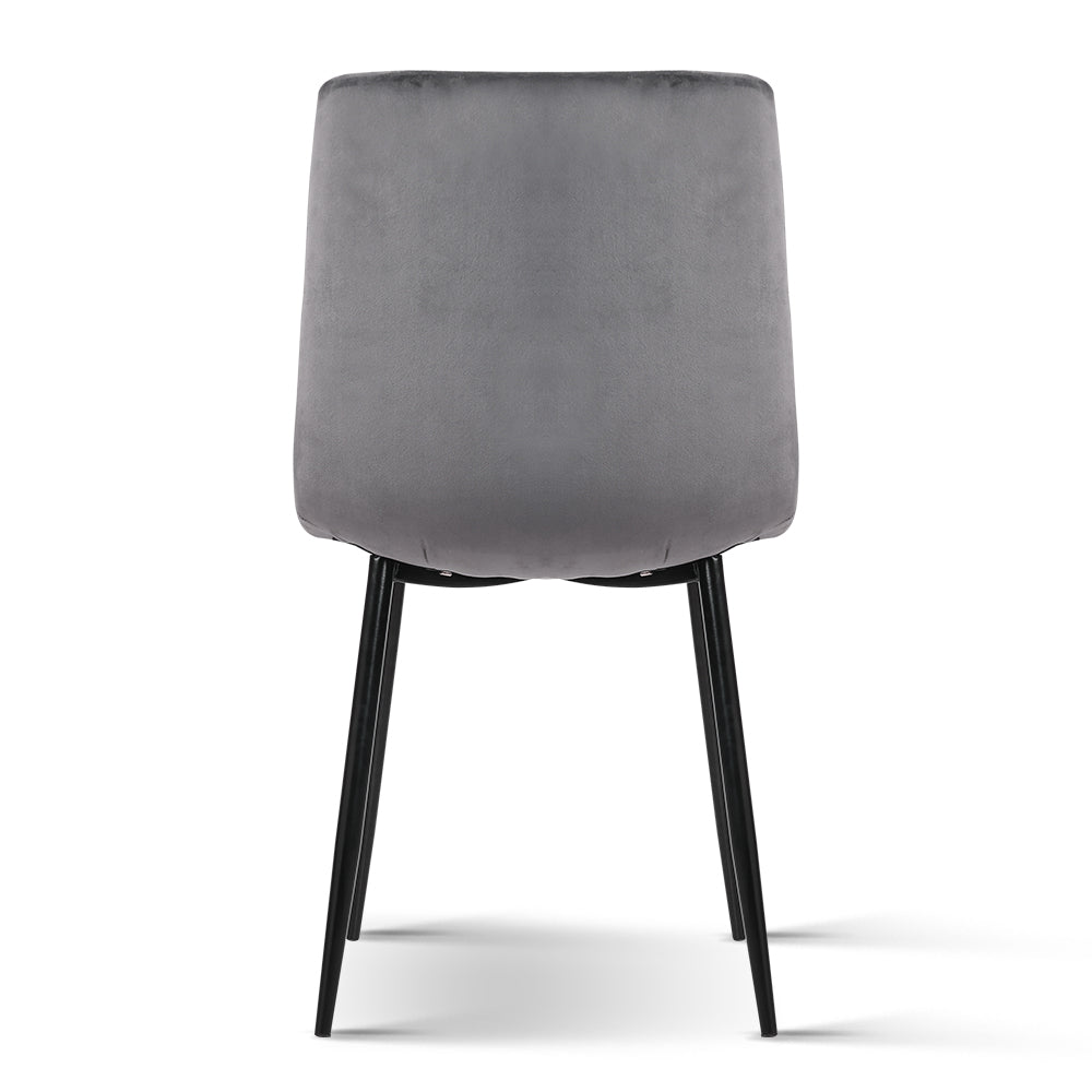 4 x Velvet Dining Chairs - Charcoal - The Home Accessories Company 3