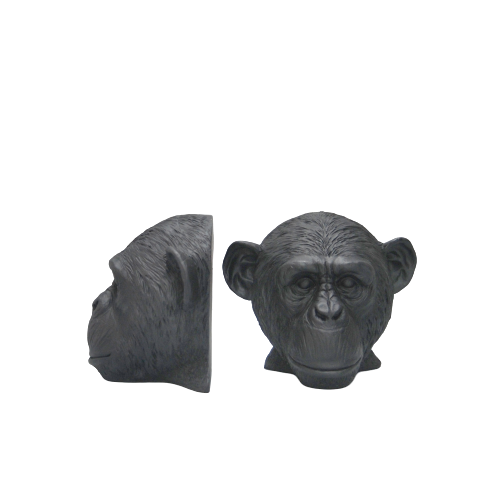 Monkey Head Bookends -  Black - The Home Accessories Company