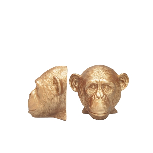 Monkey Head Bookends -  Gold - The Home Accessories Company