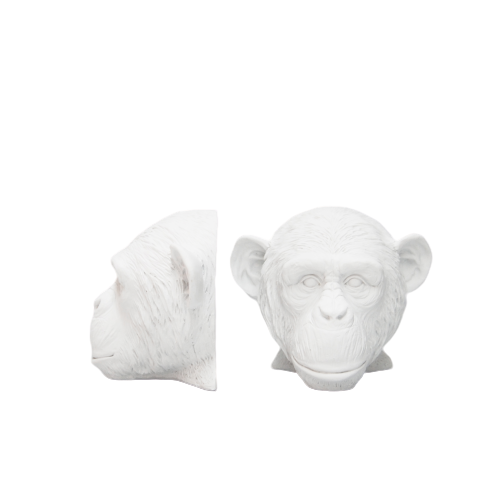 Monkey Head Bookends -  White - The Home Accessories Company 4