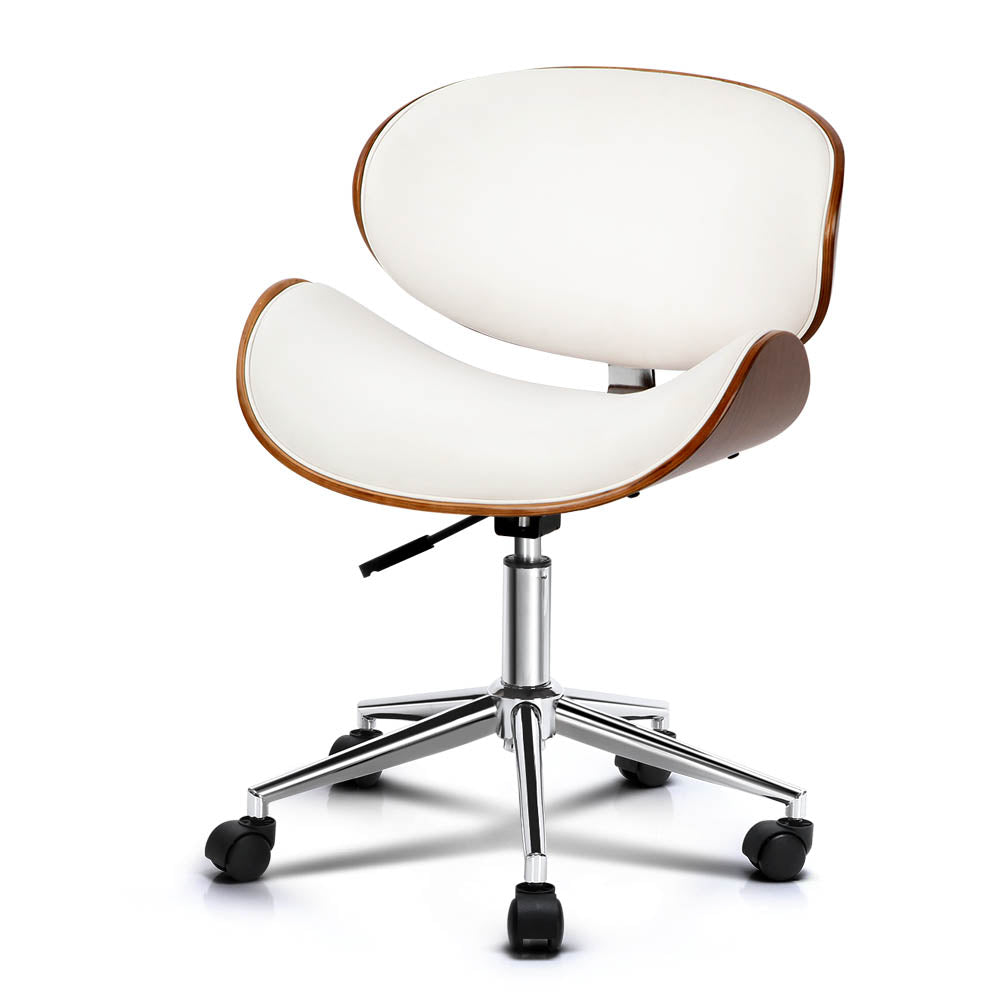 Wooden & PU Leather Office Desk Chair - White - The Home Accessories Company