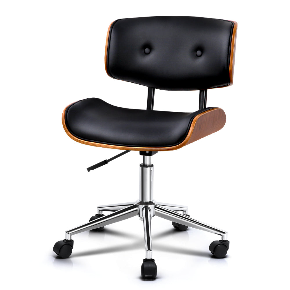 Classic Wooden & PU Leather Office Desk Chair - Black - The Home Accessories Company