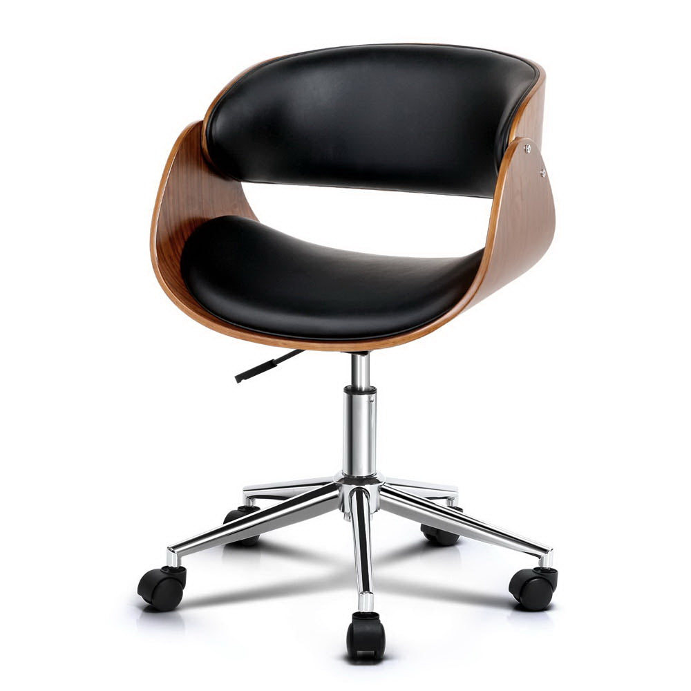 Wooden & PU Leather Office Desk Chair - Black - The Home Accessories Company