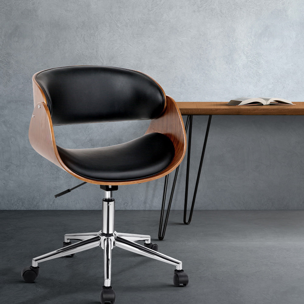 Wooden & PU Leather Office Desk Chair - Black - The Home Accessories Company 2