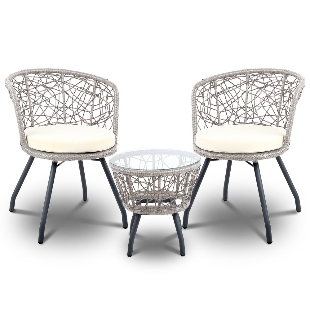 Outdoor Rattan Patio Chairs and Table - Grey - The Home Accessories Company