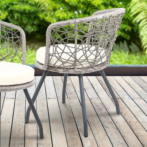 Outdoor Rattan Patio Chairs and Table - Grey - The Home Accessories Company 1