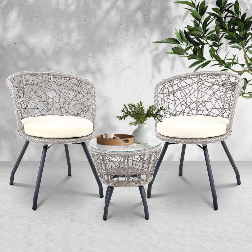 Outdoor Rattan Patio Chairs and Table - Grey - The Home Accessories Company 2