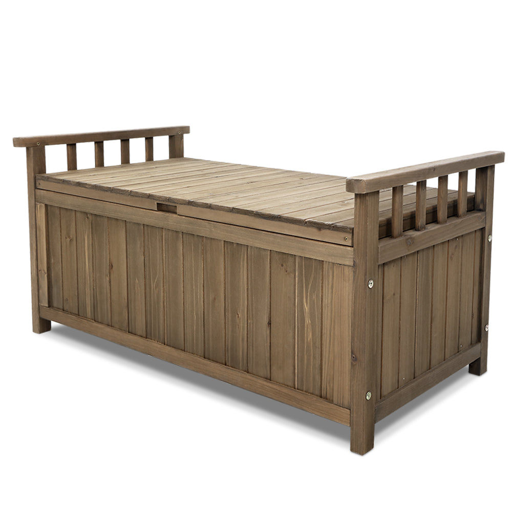 Wooden Outdoor Storage Bench Box - Natural - The Home Accessories Company