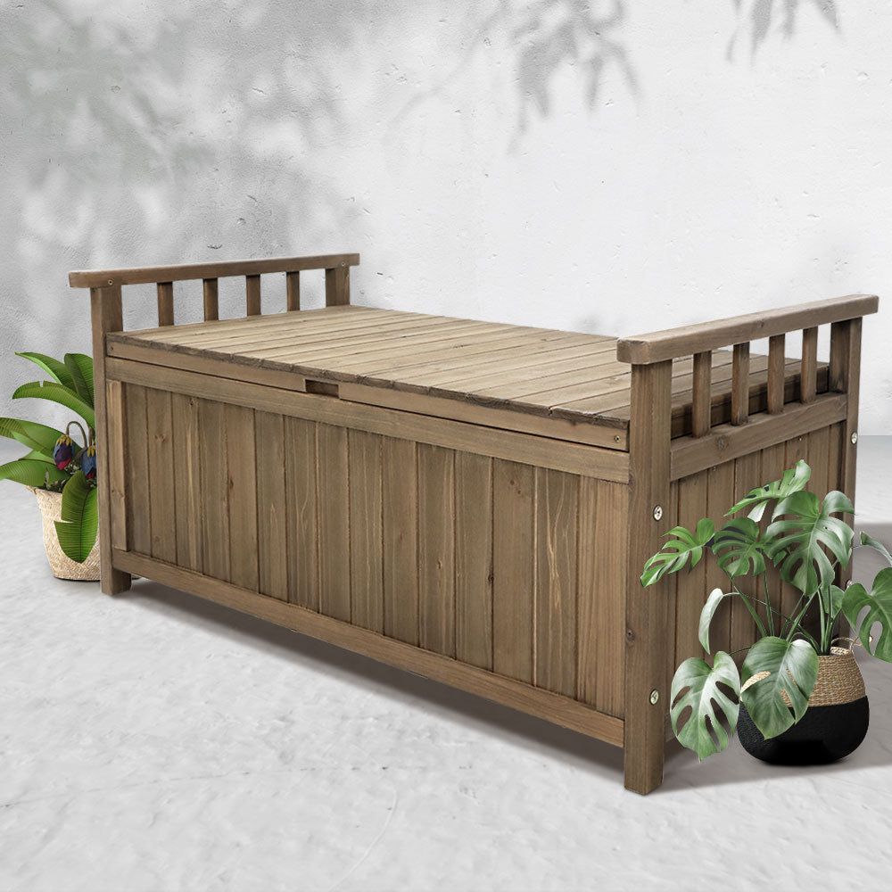 Wooden Outdoor Storage Bench Box - Natural - The Home Accessories Company 2