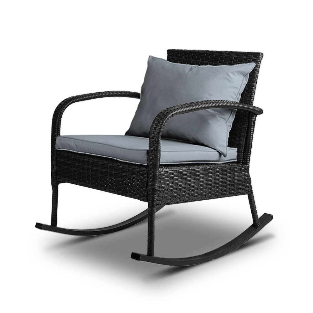 Outdoor Wicker Rocking Chair - Black - The Home Accessories Company
