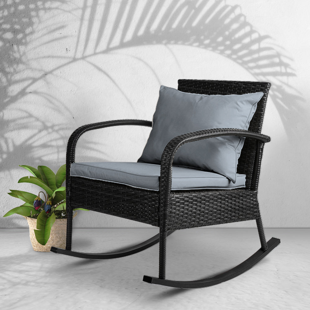 Outdoor Wicker Rocking Chair - Black - The Home Accessories Company 2