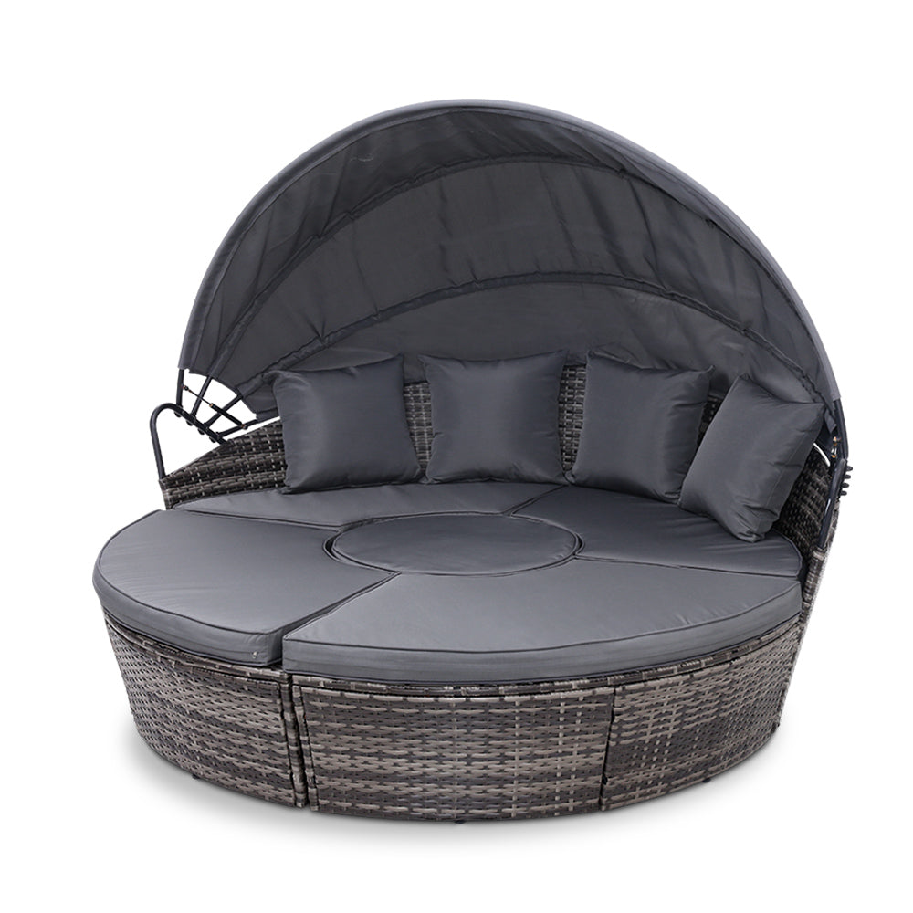 Outdoor Rattan Lounge Setting - Grey - The Home Accessories Company