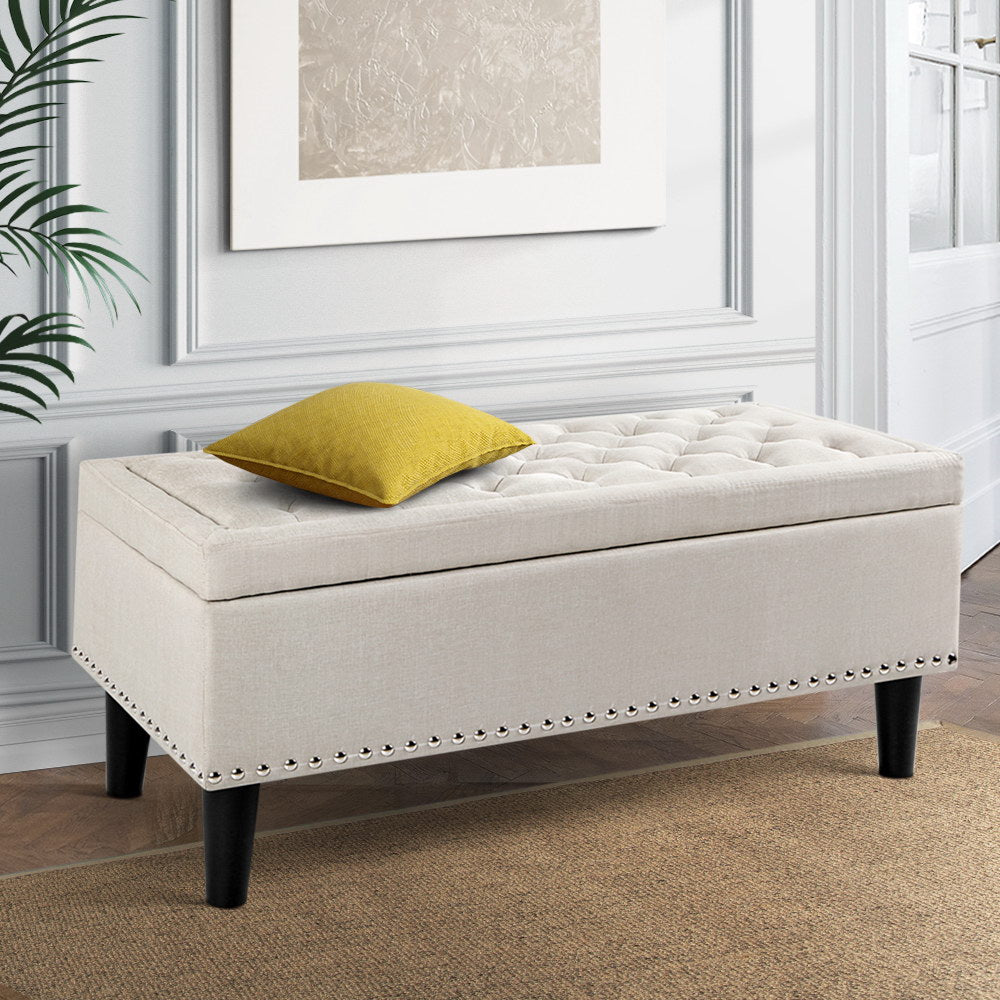 Vintage Style Storage Ottoman - Taupe - The Home Accessories Company 2