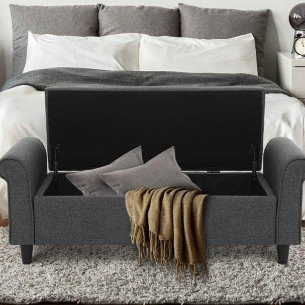 Vintage Style Storage Ottoman - Grey - The Home Accessories Company 1