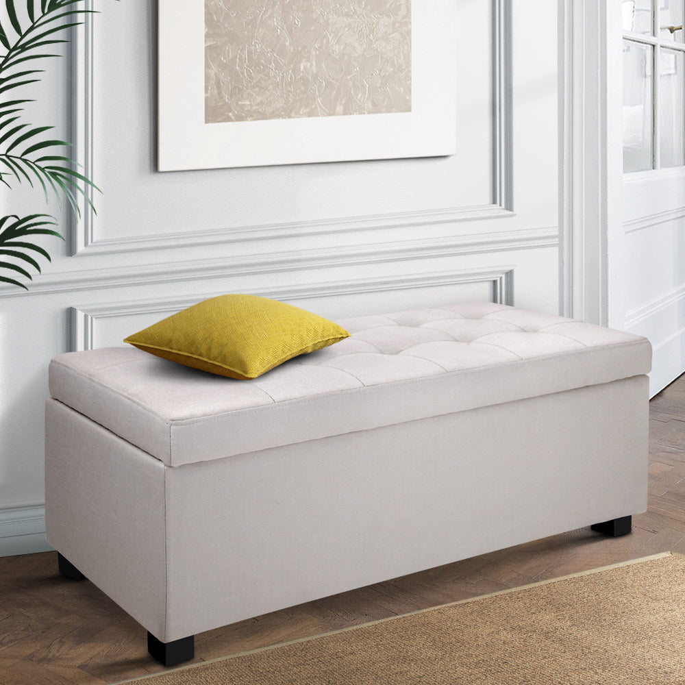 Large Fabric Storage Ottoman - Beige - The Home Accessories Company 4