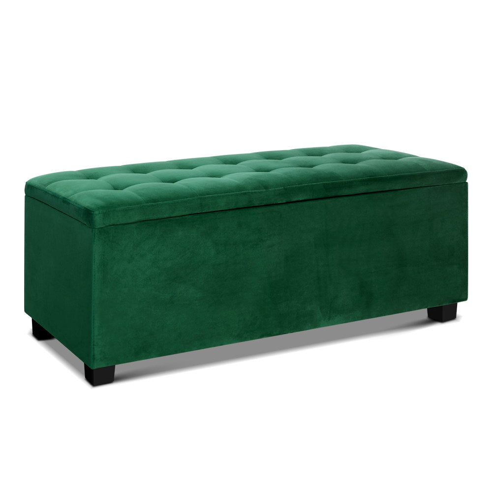 Velvet Storage Ottoman Blanket Box - Green - The Home Accessories Company