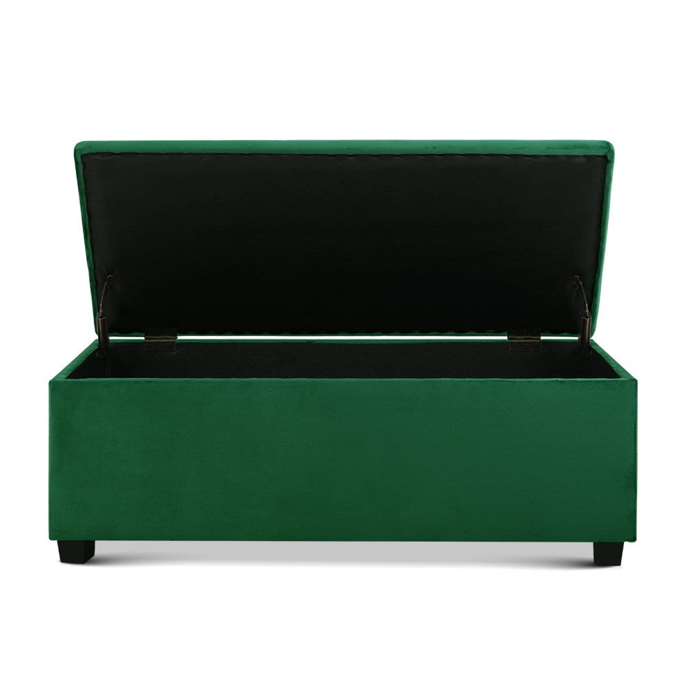Velvet Storage Ottoman Blanket Box - Green - The Home Accessories Company 1