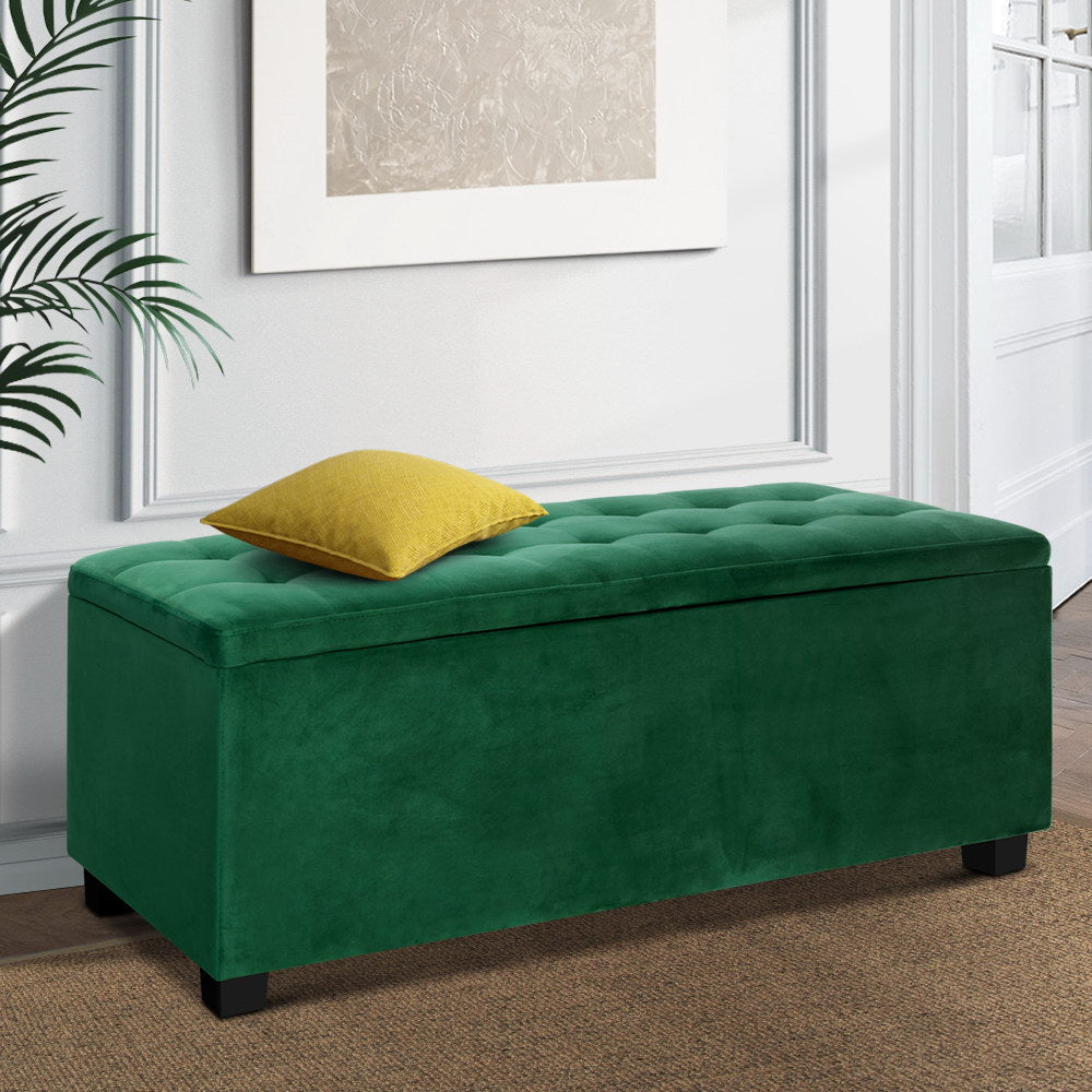 Velvet Storage Ottoman Blanket Box - Green - The Home Accessories Company 2