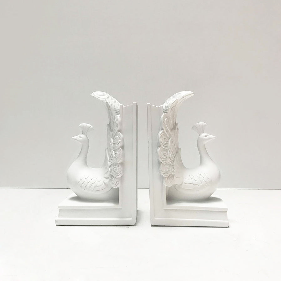 Peacock Bookends -  White - The Home Accessories Company
