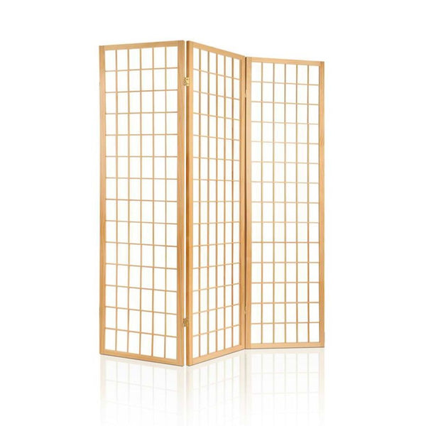 3 Panel Wooden Room Divider - Natural - The Home Accessories Company