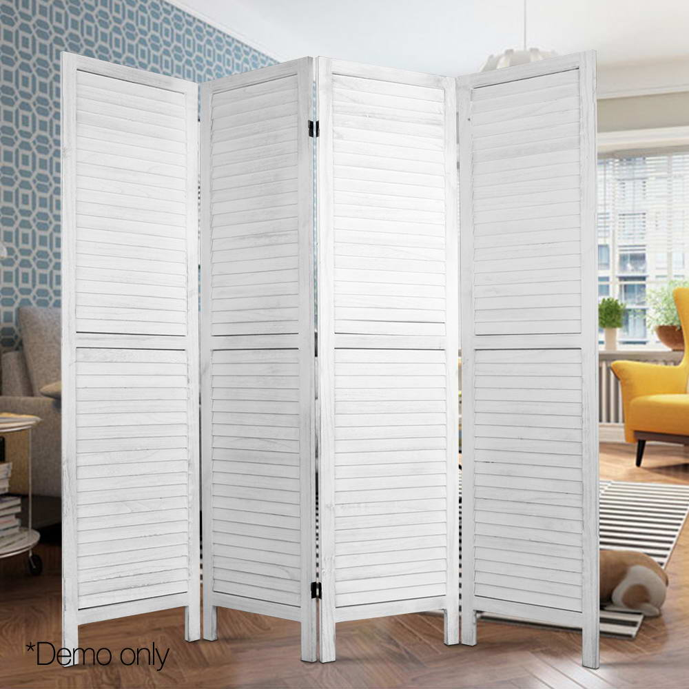 4 Panel Screen Foldable Room Divider - White - The Home Accessories Company 2