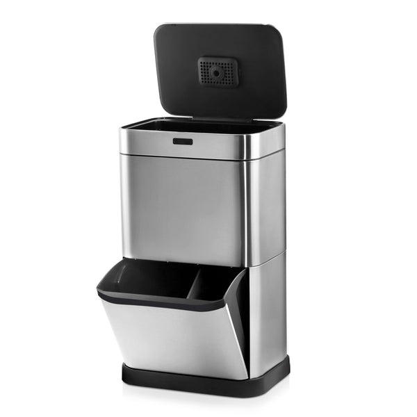 60L Stainless Steel Sensor Bin with Recycling Drawer - Silver - The Home Accessories Company