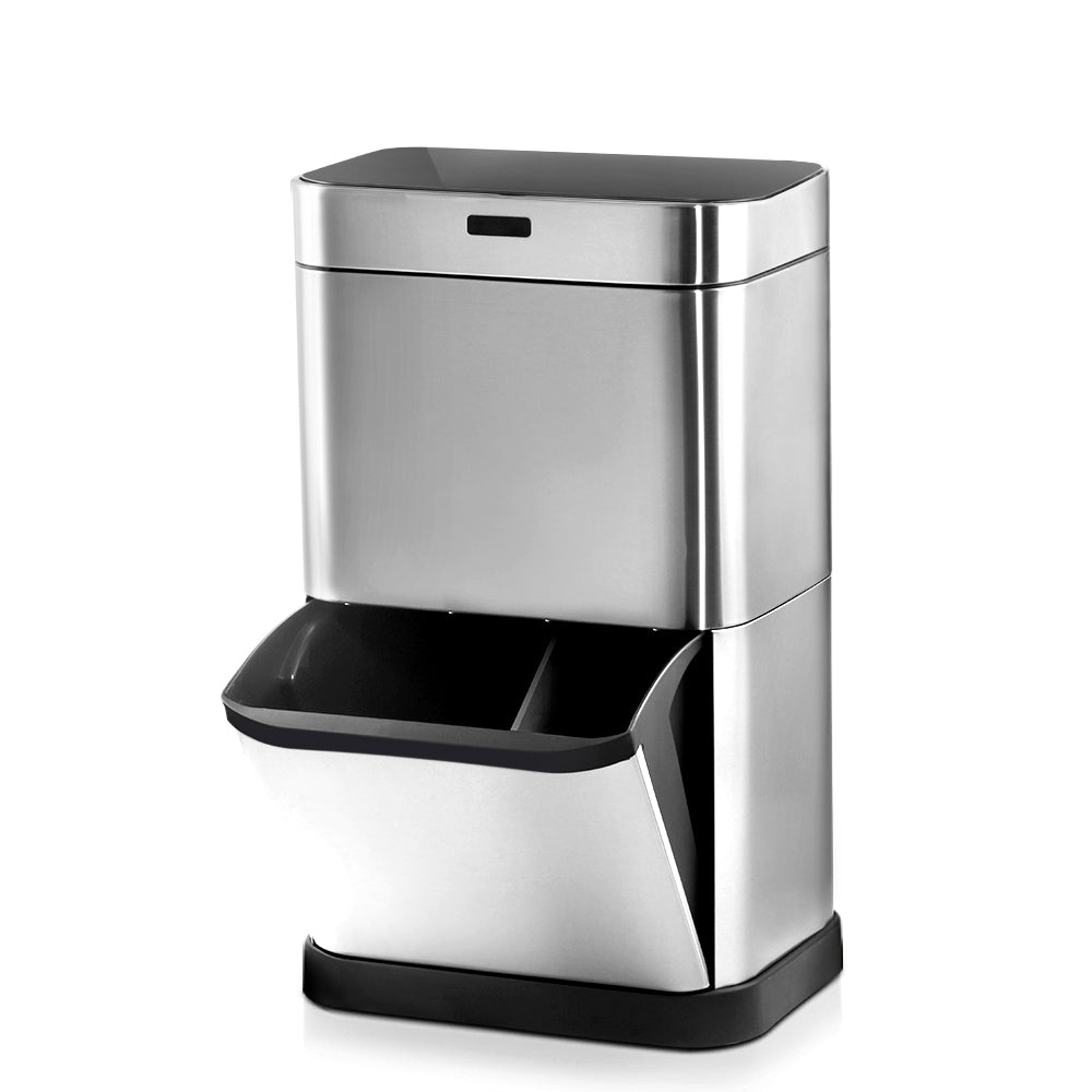 60L Stainless Steel Sensor Bin with Recycling Drawer - Silver - The Home Accessories Company 1