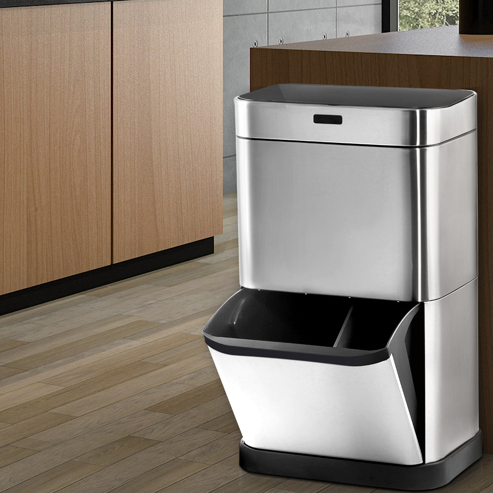 60L Stainless Steel Sensor Bin with Recycling Drawer - Silver - The Home Accessories Company 3