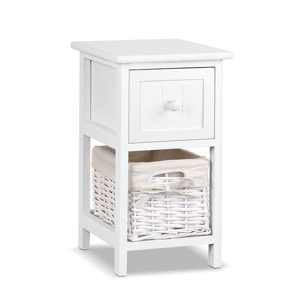 2 x Woven Basket Bedside Table - White - The Home Accessories Company
