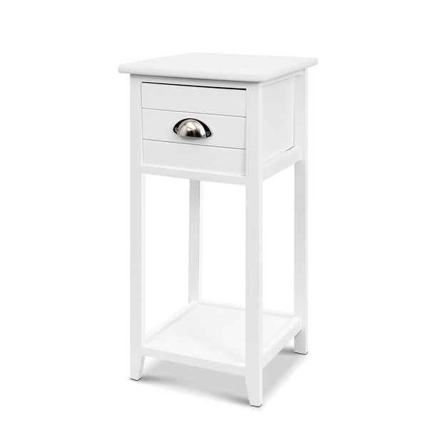 Bedside Table Nightstand - White - The Home Accessories Company