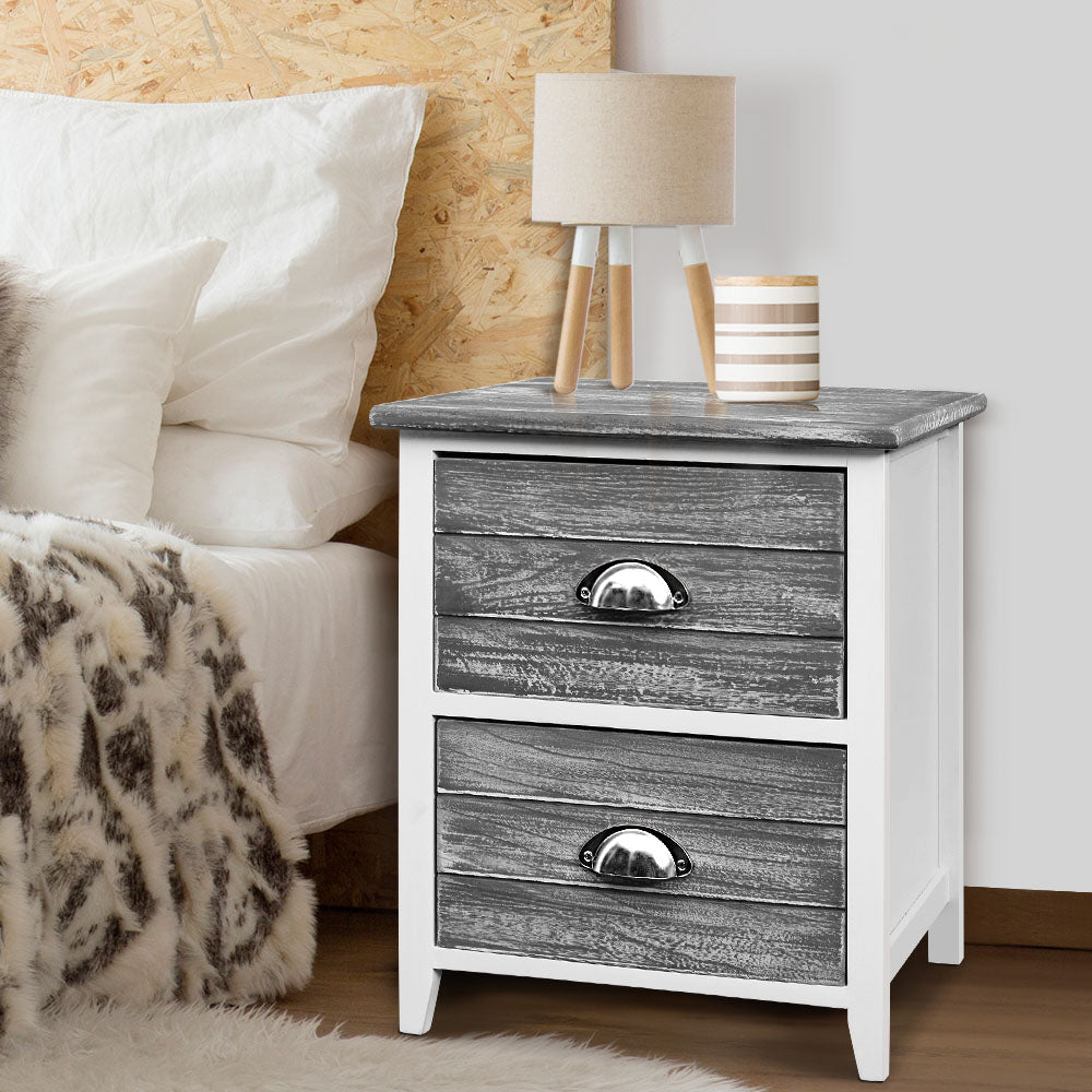 2 x Sage Bedside Tables - Grey - The Home Accessories Company 2