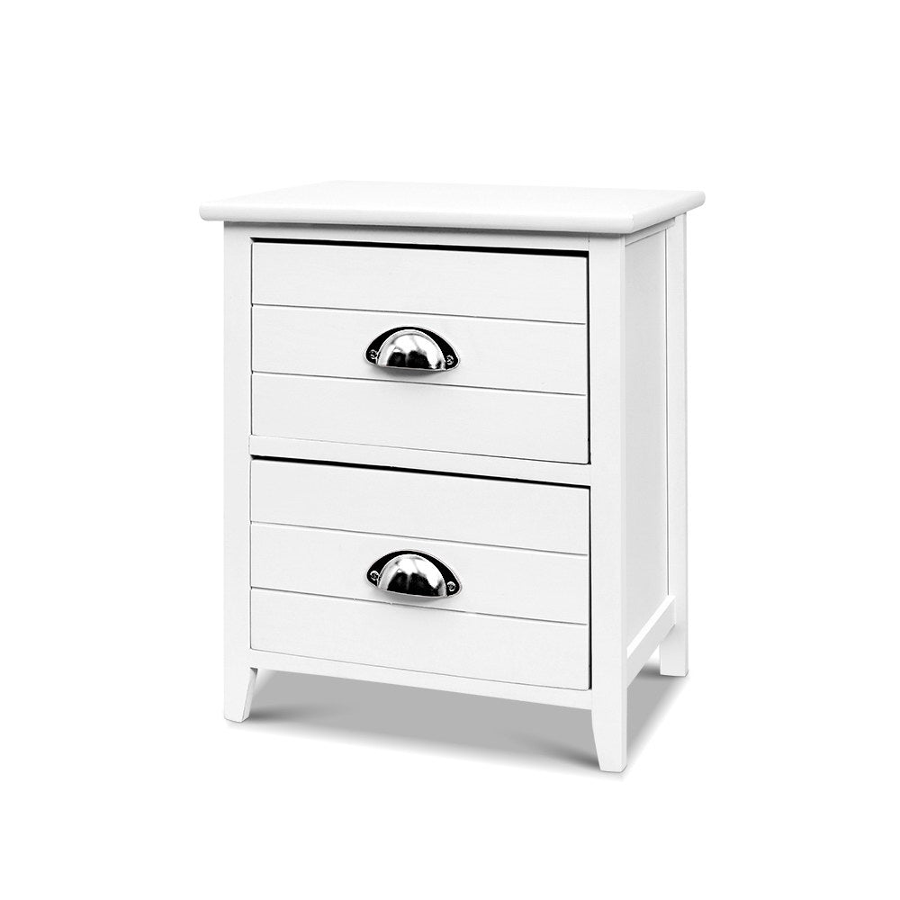 2 x Country Style Bedside Tables - White - The Home Accessories Company