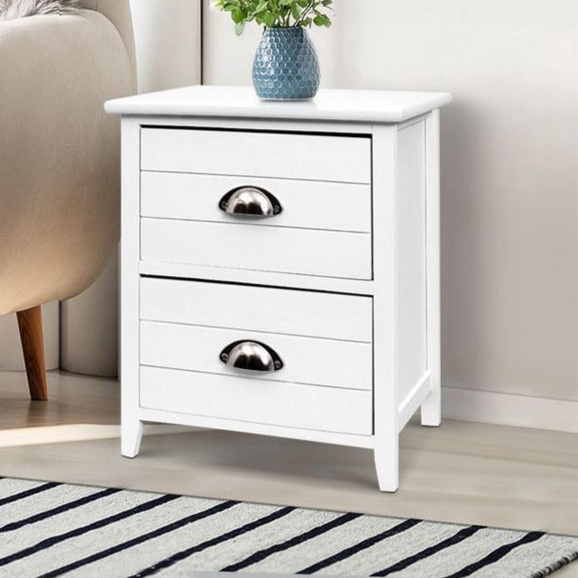 2 x Country Style Bedside Tables - White - The Home Accessories Company 1