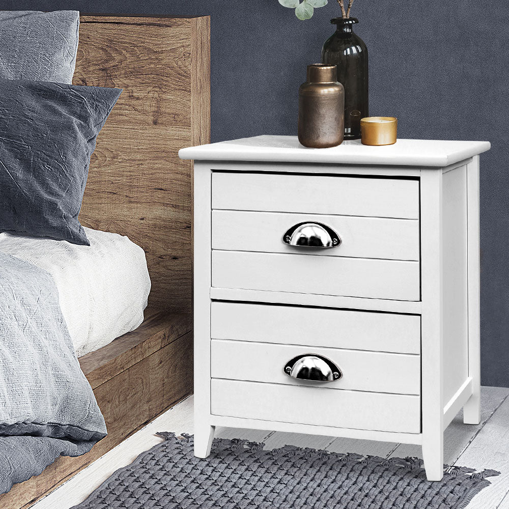 2 x Country Style Bedside Tables - White - The Home Accessories Company 3